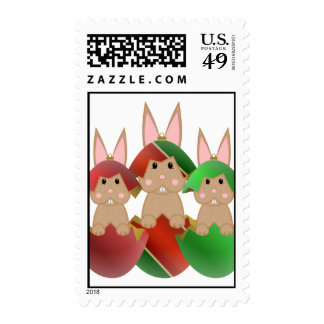 Tan Bunny In A Christmas Ornaments Postage Stamp