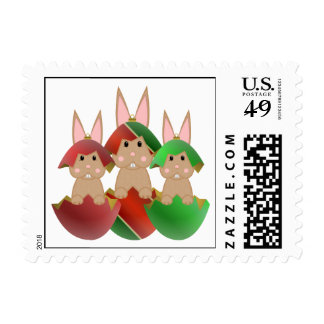 Tan Bunny In A Christmas Ornaments Postage