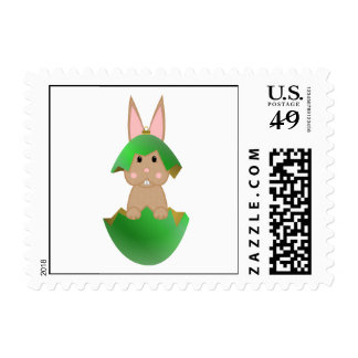 Tan Bunny In A Green Christmas Ornament Postage Stamp