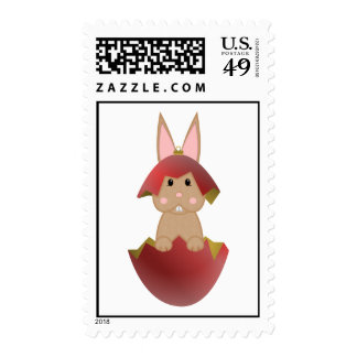 Tan Bunny In A Red Christmas Ornament Postage