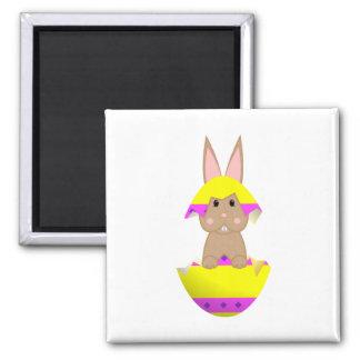 Tan Bunny In A Yellow Egg Fridge Magnets