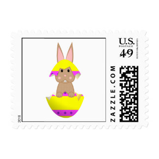 Tan Bunny In A Yellow Egg Postage