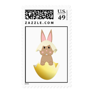 Tan Bunny In An Egg Postage Stamp
