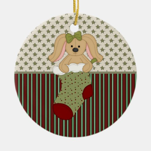Tan Bunny in Christmas Stocking Double-Sided Ceramic Round Christmas Ornament