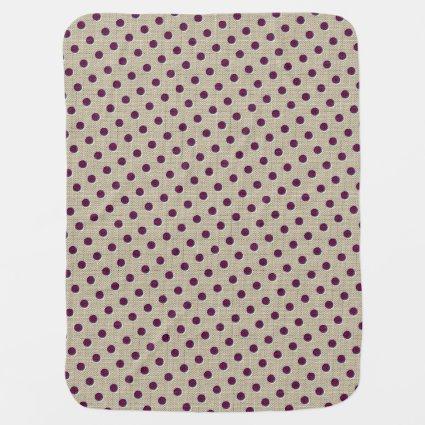 Tan & Burgundy Polka Dotted Swaddle Blankets