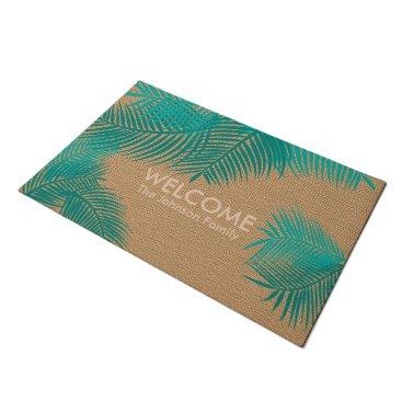 Beach Themed Tan Burlap with Teal Plam Leaves Doormat