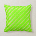[ Thumbnail: Tan & Chartreuse Colored Stripes Throw Pillow ]