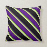 [ Thumbnail: Tan, Chartreuse, Indigo, Black, and White Lines Throw Pillow ]