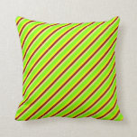 [ Thumbnail: Tan, Chartreuse, Yellow & Dark Red Colored Lines Throw Pillow ]