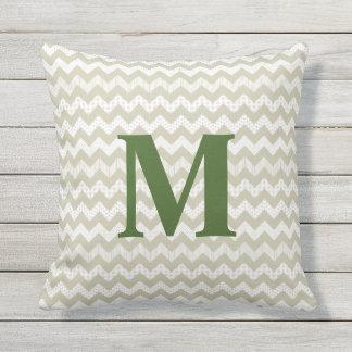 Tan Chevron and Green Monogram Outdoor Pillow