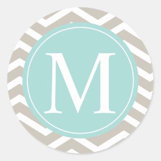 Tan Chevron Turquoise Monogram Classic Round Sticker
