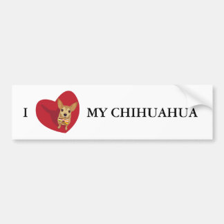 Tan Chihuahua with a bow tie in a red heart Bumper Sticker