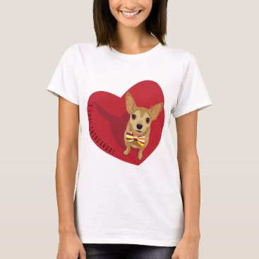 Valentines Themed Tan Chihuahua with a bow tie in a red heart T-Shirt
