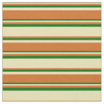 [ Thumbnail: Tan, Chocolate & Dark Green Colored Pattern Fabric ]