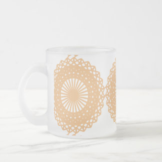 Tan Color Lace Pattern. Frosted Glass Coffee Mug