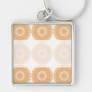 Tan Color Lace Pattern. Silver-Colored Square Keychain