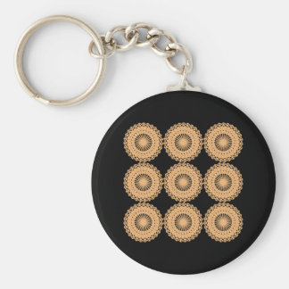 Tan Color Lace Pattern. Basic Round Button Keychain
