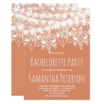 Beach Themed Tan copper mandala string lights bachelorette card