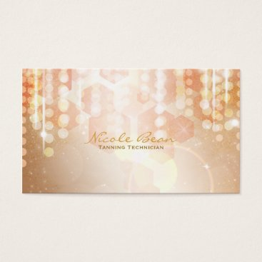 Professional Business Tan Coral & Cream Glamour Lights Business Card