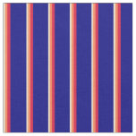 [ Thumbnail: Tan, Coral, Crimson & Blue Lines Fabric ]