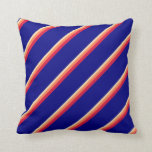 [ Thumbnail: Tan, Coral, Crimson & Blue Lines Throw Pillow ]