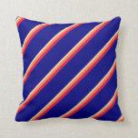 [ Thumbnail: Tan, Coral, Crimson & Blue Lines Throw Pillow ]