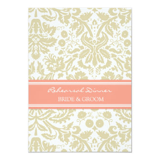 Tan Coral Damask Rehearsal Dinner Party 5x7 Paper Invitation Card