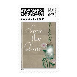 Tan country mason jar with flowers postage stamp