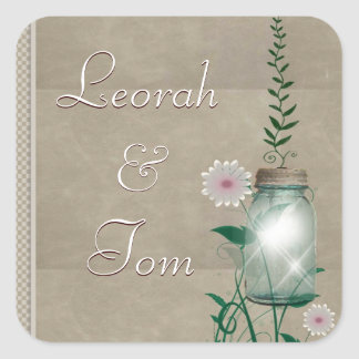 Tan country mason jar with flowers square sticker