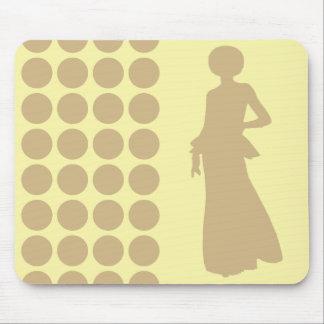 Tan Cream Neutral Dots Fashion Silhouette Mouse Pad