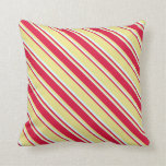 [ Thumbnail: Tan, Crimson, and Light Cyan Pattern Throw Pillow ]