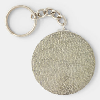 Tan Crocodile Leather Pattern Basic Round Button Keychain
