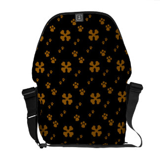 Tan Cross Dog bones and Paw prints Courier Bag