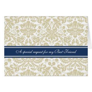 Tan Damask Best Friend Bridesmaid Invitation Card