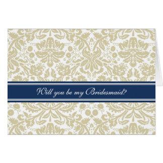 Tan Damask Bridesmaid Invitation Card