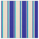 [ Thumbnail: Tan, Dark Blue, and Dark Turquoise Colored Lines Fabric ]