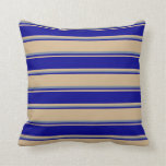 [ Thumbnail: Tan, Dark Blue, and Light Slate Gray Pattern Throw Pillow ]