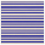[ Thumbnail: Tan & Dark Blue Colored Lined Pattern Fabric ]