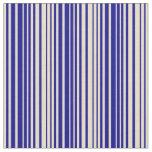 [ Thumbnail: Tan & Dark Blue Colored Lines/Stripes Pattern Fabric ]