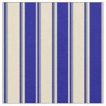 [ Thumbnail: Tan, Dark Blue & Light Slate Gray Lines Pattern Fabric ]