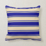[ Thumbnail: Tan, Dark Blue & Light Slate Gray Lines Pattern Throw Pillow ]