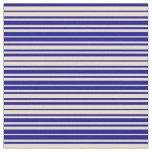 [ Thumbnail: Tan & Dark Blue Striped/Lined Pattern Fabric ]