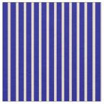 [ Thumbnail: Tan & Dark Blue Striped Pattern Fabric ]