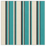 [ Thumbnail: Tan, Dark Cyan & Black Colored Stripes Fabric ]