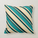 [ Thumbnail: Tan, Dark Cyan & Black Colored Stripes Pillow ]