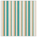 [ Thumbnail: Tan, Dark Cyan, Brown, and White Striped Pattern Fabric ]