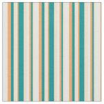 [ Thumbnail: Tan, Dark Cyan, Brown, and White Striped Pattern Fabric ]