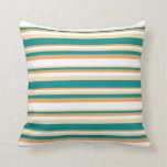 [ Thumbnail: Tan, Dark Cyan, Brown, and White Striped Pattern Throw Pillow ]