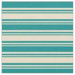 [ Thumbnail: Tan & Dark Cyan Colored Striped/Lined Pattern Fabric ]