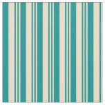 [ Thumbnail: Tan & Dark Cyan Colored Stripes Fabric ]